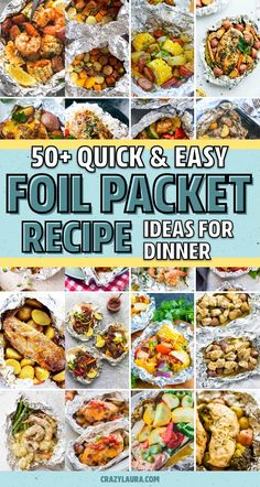 Best Foil Packet Recipes For The Grill & Oven In 2020 - Crazy Laura - If you need a quick and easy meal for the family or next time you're camping… these awesome foil packet recipes, for both the grill and oven, will help you whip up dinner in no time! Tin Foil Dinners, Foil Packet Dinners, Foil Pack Meals, Foil Meals For Camping, Grilling Recipes, Cooking Recipes, Healthy Recipes, Healthy Nutrition, Healthy Eats