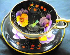 Aynsley England Hand-Painted Pansy Purple, Black, Gold Tea Cup And Saucer