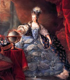 Marie Antoinette in an extremely elaborate robe de cour. I believe this portrait was commissioned in answer to Empress Maria Theresa's criticism of her daughter's preference for simple muslin dresses ( the famous portrait of the Queen in a 'gaulle' by Vigee-Lebrun had come to her attention).