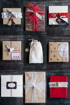 Gift wrap ideas with the basics -- kraft paper, tulle, crepe paper, baker's twine. #gift #wrapping #presents #packaging #christmas #red #white #kraft #paper #holidays