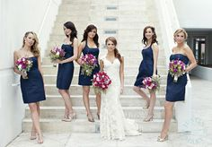 pretty flower color with the navy dresses