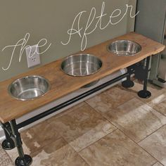 raised industrial dog feeder tutorial diy how to pets animals repurposing upcycling woodworking projects Raised Dog Feeder, Raised Dog Bowls, Elevated Dog Bowls, Dog Feeding Station, Dog Station, Zack E Cody, Dog Rooms, Pipe Furniture, Industrial Furniture