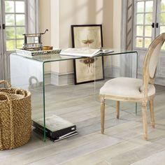 W4193Glass Desk Console Tables, Desks, & Buffets