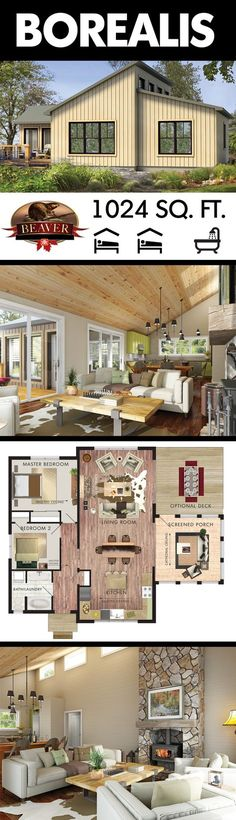 The Borealis is a two bedroom, 1 storey #cottage with a contemporary flair. The linear construction and open concept give it an appealing edge. #BeaverHomesAndCottages