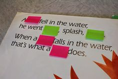 Reading Strategies with post it notes.write practice sentences and cover up one word. Let them choose the right word to fill in the blank. Teaching Reading Strategies, Decoding Strategies, Comprehension Strategies, Reading Lessons, Reading Resources, Kindergarten Reading, Reading Skills, Guided Reading, Reading Comprehension