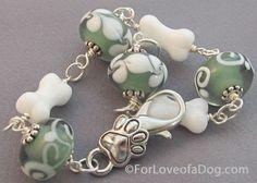 Dog Bone Bracelet Silver Paw Print Clasp Green Lampwork