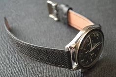 Jones in Tokyo Custom Black Watch Strap on Omega Speedmaster Big Watches, Cool Watches, Watches For Men, Omega Speedmaster Watch, Leather Watch Bands, Calf Leather, All Black, Tokyo, Watch Straps