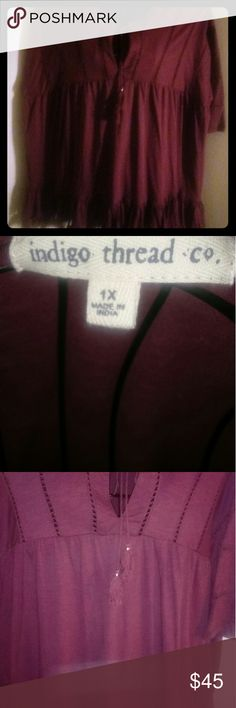 Indigo Thread Burgundy Boho Chic Tassel Top Hi this is a really cute bohemian chic type top relaxed fit. It is a 1X and measures 24 inches across chest, 29 inches from top of shoulder to end where tassels dangles beautifully! The fit is generous for a 1X so if you normally wear 2X this may work for you too! This top is new purchased online no tags attached but not worn. Sorry for the dark pics not sure why they are dark. Get this beauty today and feel quite nice in this 100 percent cotton…