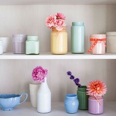 Flowers in vases on shelves | How To Make A Chalky Pastel Vase