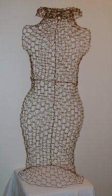I really want to learn how to make a wire dress form, this from Chicken Wire!
