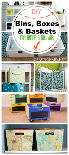 DIY bins, boxes and baskets under five dollars using fabric, wood, pvc pipes, cartons and more...
