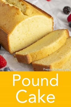 This rich and moist pound cake has big notes of butter and vanilla. It& an easy to make cake from Preppy Kitchen that melts in your mouth and will bring a smile to your face. Great to make for the upcoming holidays. Vanilla Pound Cake Recipe, Butter Pound Cake, Easy Pound Cake, Almond Pound Cakes, Pound Cake Recipes, Easy Cake Recipes, Baking Recipes, Dessert Recipes, Moist Butter Cake Recipe
