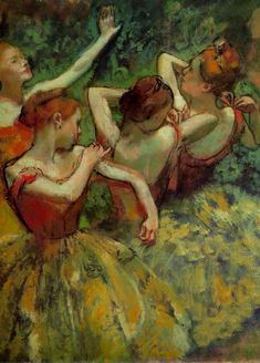 "What color do you notice first? Emphatic dark lines shape the dancers heads and arms while a simple scheme of complementary red-orange and green hues colors the figures. Edgar Degas ""Four Dancers"" (detail) c. 1899 oil on canvas by ngadc Edgar Degas, Degas Ballerina, Degas Paintings, Paintings I Love, Dance Paintings, Pierre Auguste Renoir, Manet, Tanz Poster, Degas Dancers"