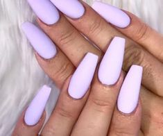 A manicure is a cosmetic elegance therapy for the finger nails and hands. A manicure could deal with just the hands, just the nails, or Purple Acrylic Nails, Summer Acrylic Nails, Best Acrylic Nails, Acrylic Nails Pastel, Light Purple Nails, Light Nails, Pastel Color Nails, Violet Nails, Glitter Nails