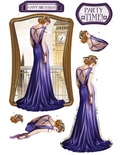 Debbi Moore Designs - Die Cut Art Deco London decoupage toppers - amethyst gown