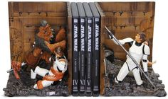 Star Wars trash compactor bookends. Awesome.