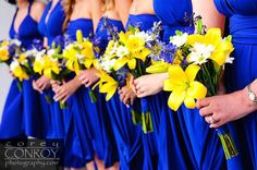 Royal Blue Bridesmaid Dresses And Yellow Lily Bouquets I Think Would Do Purple With Orange Lilies For Similar Contrast