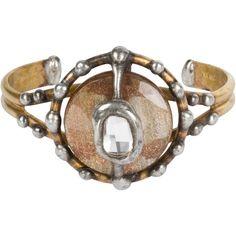 Golden glass Swarovski crystal cuff by Mikal Winn. At www.ponteV.com.