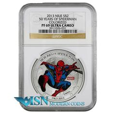 2013 Niue 1 Oz Silver Colorized Marvel 50 Years of Spider-Man $2 Coin NGC PF69 UC First popularized in the famous Stan Lee comic books, Spider-Man is now forever immortalized by the blockbuster films. These new 1 Oz Silver Proof coins are the first, and only, legal tender coins officially licensed by Marvel to commemorate Spider-Man. These coins have a mintage of only 5,000 pieces, do not miss your opportunity to acquire this limited edition Marvel collectible! go to…