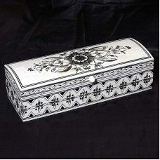 This Handmade jewellery box is made of wooden with attractive hand painting and beautiful bone fitting. This jewellery box gives an elegant look. You can use it for keep your precious things. You can gifted it to your relatives,friends etc.Note: This is Handcraft Item so each item will be different than other due to limitation of photography.