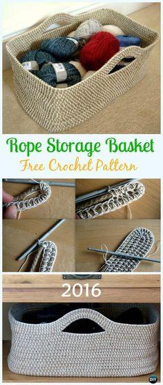 Crochet Rope Storage Basket Free Pattern - Crochet Storage Basket Free Patterns