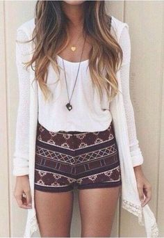 20 Summer Trends. Love this #boho look with the #tribal shorts and flowy cardigan!