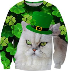 Lucky four leaf clover - St. Patricks Day. White cat with Leprechaun hat. four leaf clover, green clovers, irish, st. patricks day, leprechaun hat, white cat, f