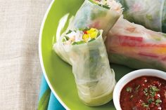Fresh+Rolls+With+Spicy+Almond+Dipping+Sauce