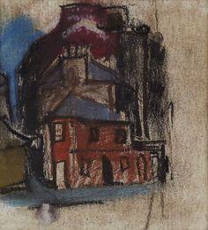 Joan Eardley − TALL SLIM BUILDINGS, Pastel, 13.7x12.6 cm
