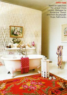Eclectic bathroom.  Vogue, march 2010