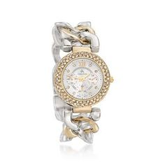 Ross-Simons - Louis Arden Women's 34mm Two-Tone Link Watch With Swarovski Crystals - #LSAS07