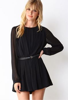 Georgette Romper w/ Braided Faux Leather Belt | FOREVER21 This romper is a #MustHave #Love21