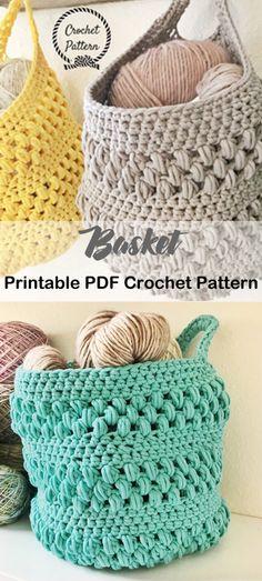23 Ideas For Knitting Bag Pattern Yarns Crochet Baskets Crochet Gifts, Crochet Home, Crochet Yarn, Booties Crochet, Crochet Flower, Free Crochet, Sewing Pattern Storage, Crochet Storage, Knitting Patterns