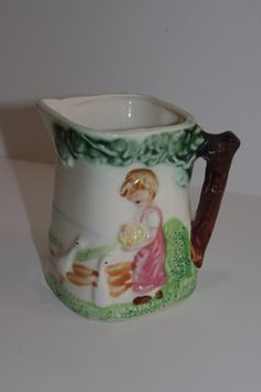 Vintage Creamer or Pitcher..Boy Feeding by JunkinForJoyVintage, $11.90