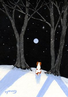 Springer Brittany Spaniel Dog folk Art PRINT of Todd Young painting FALLING SNOW