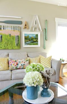 Beachy Style Summer Lake House Tour at The Happy Housie living room