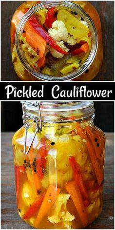 Pickled Cauliflower, Cauliflower Recipes, Cauliflower Salad, Roasted Cauliflower, Fermentation Recipes, Canning Recipes, Canning Jars, Pickled Vegetables Recipe, Pickling Vegetables