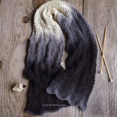 Lady by the Bay - Feather and Fan Knitted Scarf Pattern