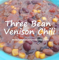Our favorite chili recipe with venison although you could easily use ground beef instead of venision!