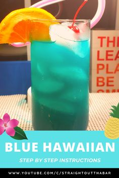 Back with the Blue Hawaiian cocktail recipe, it is very similar to Olive Garden's Blue Hawaiian. This a great colorful Blue cocktail that is sweet and flavorful! Uv Blue Drinks, Malibu Drinks, Blue Cocktails, Hawaiian Punch Recipes, Tropical Drink Recipes, Alcohol Drink Recipes, Blue Hawaiian Drink, Hawaiian Cocktails, Apple Sangria