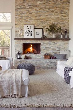 Living area with fireplace.