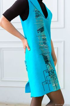 """Купить Сарафан валяный """"Джаз"""" - бирюзовый, голубой, сарафан, вышивка, валяный, валяная одежда, домики"""