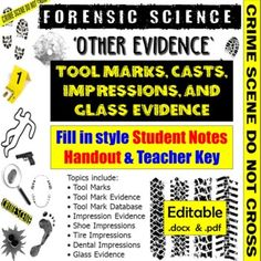 Student version is 6-pages and a 6-page Teacher key is included as well.** Fill-in packets come as both PDF and Word (.docx) files so you can edit the document as needed.The Other Evidence Notes cover the following topics:• Tool Marks• Tool Mark Evidence• Tool Mark Database• Impression Evidence• Sho... Forensic Science, Forensics, Dental, Fill, It Cast, Pdf, Notes, Teacher, Student