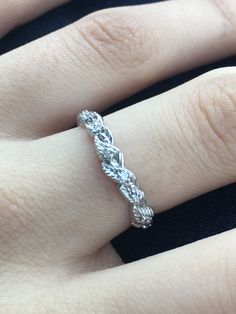 Custom Made 14k White Gold Elvish Leaves Wedding Band Set With Rubies, Sapphires Or Diamonds