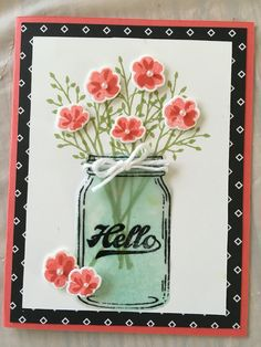 handmade card ... Jar of Love ... great artistry ... luf the popped up flower sand the green glas tinting ... Stampin Up