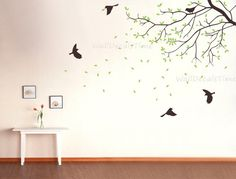 Wall Decal Nursery Wall Decal Birds Green Wall by WallDecalsTime, $59.00