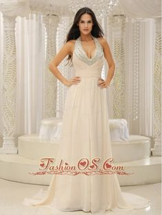 Halter Top With Beaded Ruched Bodice For Beautiful Prom Dress Customize    http://www.fashionos.com  If you're looking for a chic and elegant design for your next event, look no further. This one will definitely suffice. The dress features sleeves with a sexy V-neck and the ruched bodice will highlight your slim figure. The chapel train in the back will accent your temperament. What's more, the open back will show your sexy facet. Zipper up back.