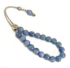 Blue Agate Komboloi Greek Worry Beads Metal by sunnybeadsbythesea