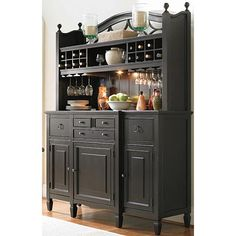 LOVE THIS Universal Summer Hill 2 Pc. Serving Buffet and Bar Hutch with Wine Storage at Furniture Options New York--maybe on a smaller scale though Dining Room Buffet, Dining Room Furniture, Kitchen Dining, Kitchen Decor, Hutch Furniture, Wolf Furniture, Kitchen Hutch, Dining Hutch, Paint Furniture