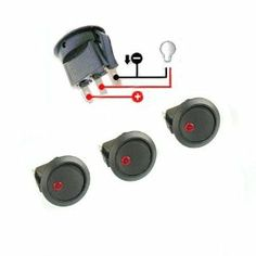 New 3pc Car Truck Rocker Toggle LED Switch Red Light On-off Control 12V by…